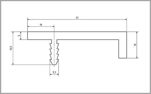 Zeichnung Griffleiste Typ1  bei Design MWM