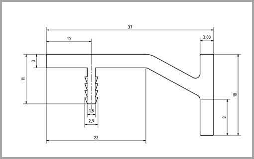 Zeichnung Griffleiste Typ2  bei Design MWM